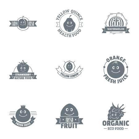 Fresh fruit logo set. Simple set of 9 fresh fruit vector logo for web isolated on white background