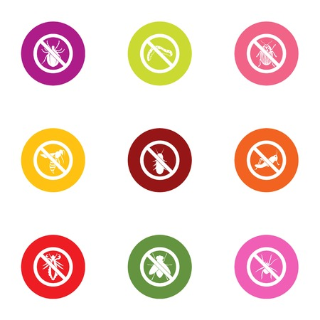 Poison bug icons set. Flat set of 9 poison bug vector icons for web isolated on white background Stock Vector - 106655934