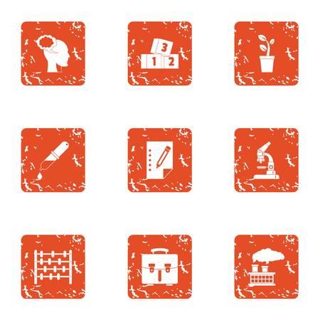 Child mind icons set. Grunge set of 9 child mind vector icons for web isolated on white background
