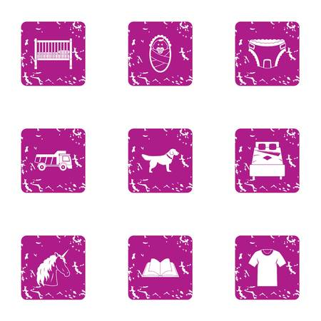 Home day icons set. Grunge set of 9 home day vector icons for web isolated on white background