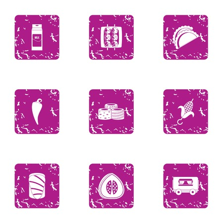 Admixture icons set. Grunge set of 9 admixture vector icons for web isolated on white background