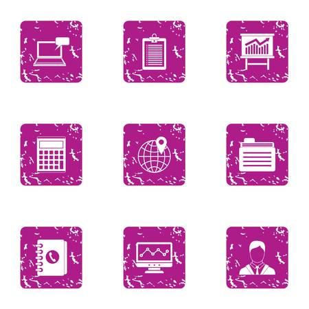 Stockbroker icons set. Grunge set of 9 stockbroker vector icons for web isolated on white background