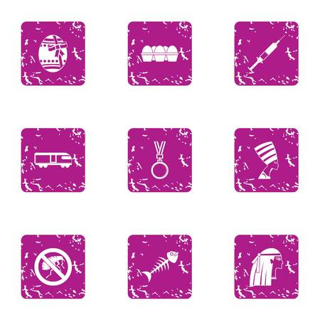 Meal day icons set. Grunge set of 9 meal day vector icons for web isolated on white background