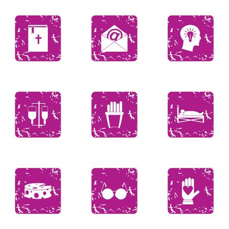 Help religion icons set. Grunge set of 9 help religion vector icons for web isolated on white background