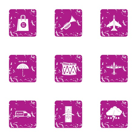 Aviatransportation icons set. Grunge set of 9 aviatransportation vector icons for web isolated on white background