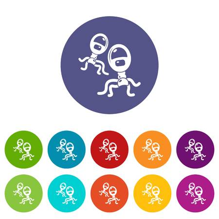 Protozoan virus icons color set vector for any web design on white background