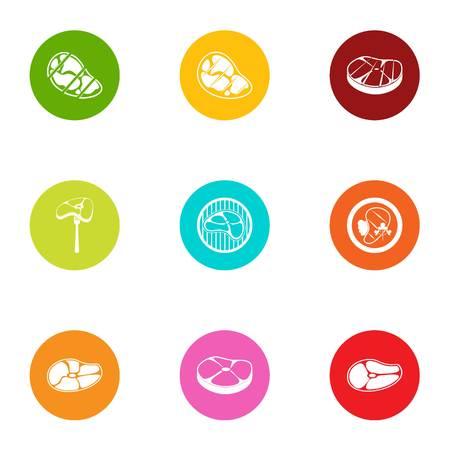 Porterhouse steak icons set. Flat set of 9 porterhouse steak vector icons for web isolated on white background
