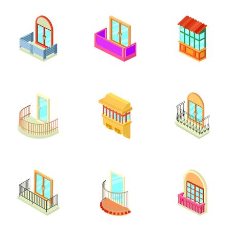 House window icons set. Isometric set of 9 house window vector icons for web isolated on white background