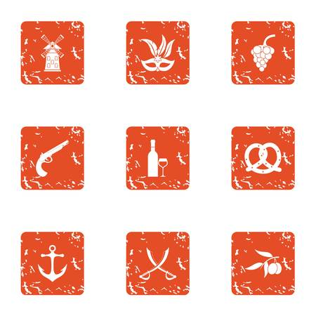 Buccaneer icons set. Grunge set of 9 buccaneer vector icons for web isolated on white background