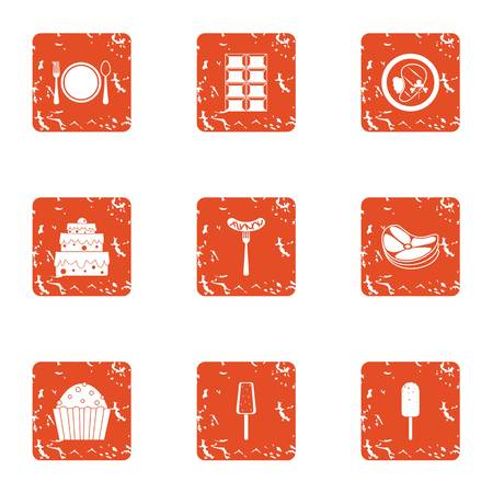 Food platter icons set. Grunge set of 9 food platter vector icons for web isolated on white background