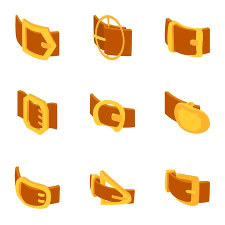 Clasp icons set. Cartoon set of 9 clasp vector icons for web isolated on white background Vectores