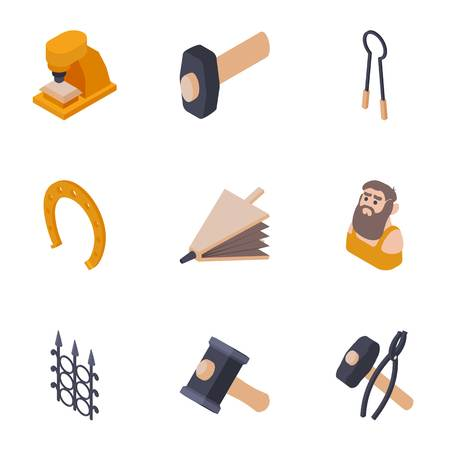 Produce a metal icons set. Isometric set of 9 produce a metal vector icons for web isolated on white background