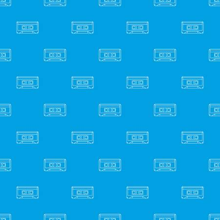 Audio cassette pattern vector seamless blue repeat for any use