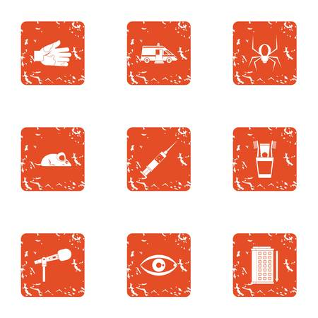 Catching an insect icons set. Grunge set of 9 catching an insect vector icons for web isolated on white background
