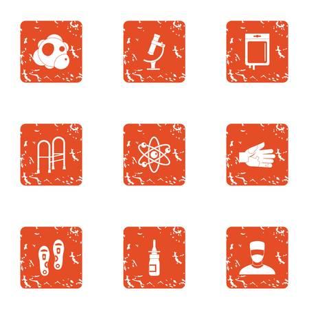 Produce the disease icons set. Grunge set of 9 produce the disease vector icons for web isolated on white background