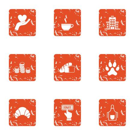Volunteer icons set. Grunge set of 9 volunteer vector icons for web isolated on white background