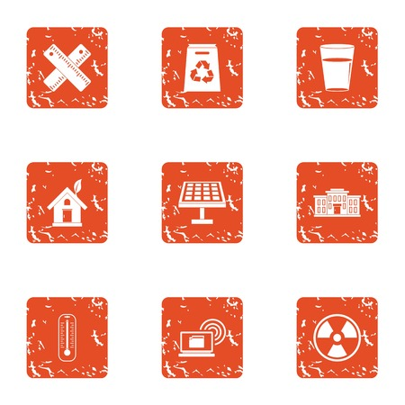 Pollution icons set. Grunge set of 9 pollution vector icons for web isolated on white background