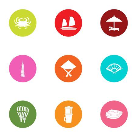 Relocate icons set. Flat set of 9 relocate vector icons for web isolated on white background