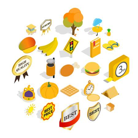 Beautiful vacation icons set. Isometric set of 25 beautiful vacation vector icons for web isolated on white background