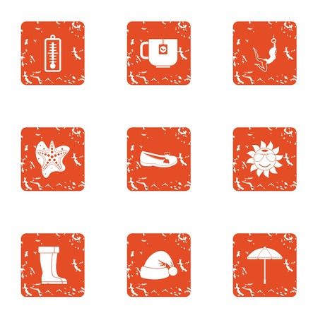 Thaw icons set. Grunge set of 9 thaw vector icons for web isolated on white background Illustration