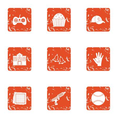 Game family icons set. Grunge set of 9 game family vector icons for web isolated on white background