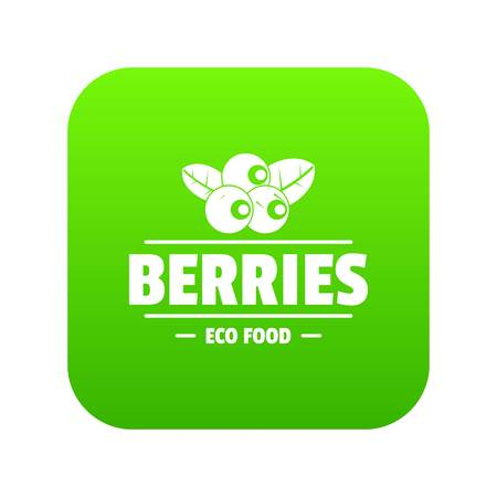 Organic berries icon green vector isolated on white background Illustration