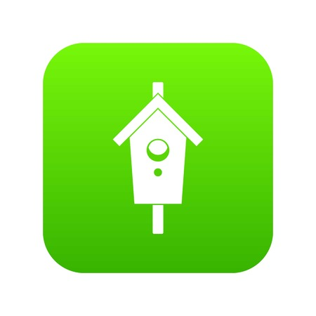 Birdhouse icon digital green for any design isolated on white vector illustration