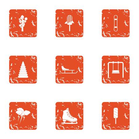 Marathon icons set. Grunge set of 9 marathon vector icons for web isolated on white background Çizim