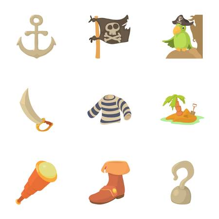 Buccaneer icons set. Cartoon set of 9 buccaneer vector icons for web isolated on white background
