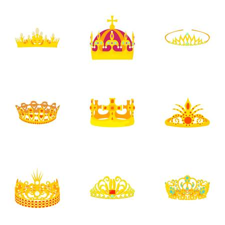 Princely icons set. Cartoon set of 9 princely vector icons for web isolated on white background