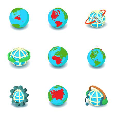 Earth is round icons set. Isometric set of 9 earth is round vector icons for web isolated on white background Illustration