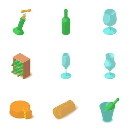 Wine glass icons set. Isometric set of 9 wine glass vector icons for web isolated on white background Vectores