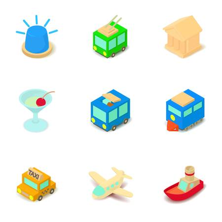 Sightseeing tour icons set. Isometric set of 9 sightseeing tour vector icons for web isolated on white background