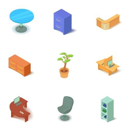 Stylish furniture icons set. Isometric set of 9 stylish furniture vector icons for web isolated on white background