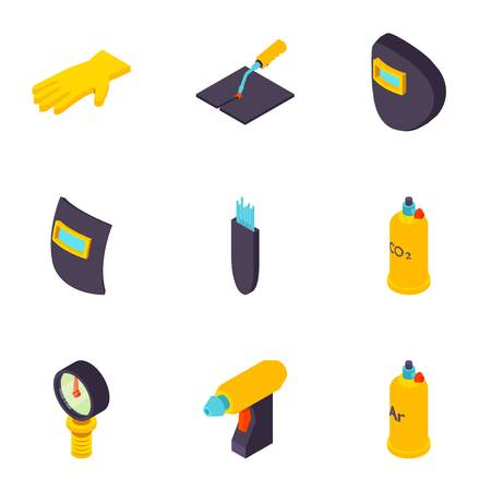 Weld icons set. Isometric set of 9 weld vector icons for web isolated on white background Vectores