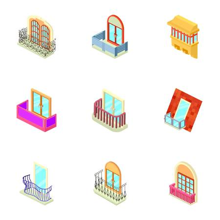 Window throttle icons set, isometric style