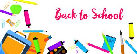 Back to school again banner horizontal. Flat illustration of vector back to school again banner horizontal for web design