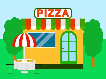 Pizza street shop festival background. Flat illustration of pizza street shop festival vector background for web design