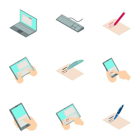 Online map icons set. Isometric set of 9 online map vector icons for web isolated on white background
