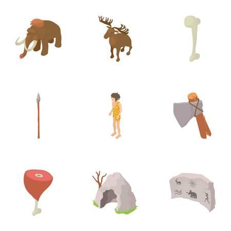 Prehistoric hunting icons set. Isometric set of 9 prehistoric hunting vector icons for web isolated on white background