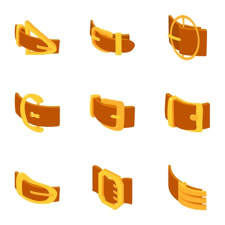 Golden buckle icons set. Isometric set of 9 golden buckle vector icons for web isolated on white background
