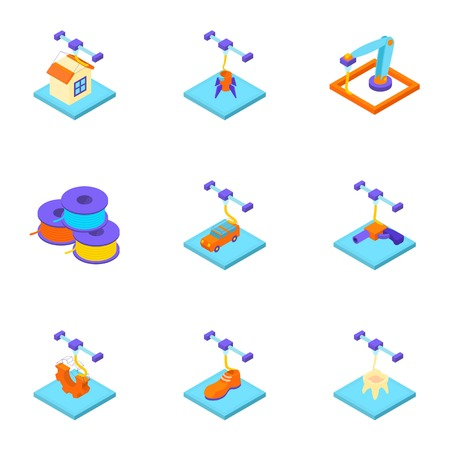 Create a home icons set. Isometric set of 9 create a home vector icons for web isolated on white background