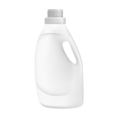White plastic bottle detergent mockup. Realistic illustration of white plastic bottle detergent vector mockup for web design isolated on white background Stockfoto - 111906281