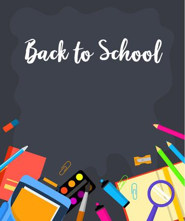 Black board back to school background. Flat illustration of black board back to school vector background for web design 向量圖像