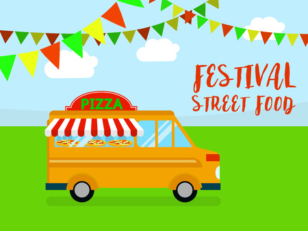 Festival of street food background. Flat illustration of festival of street food vector background for web design
