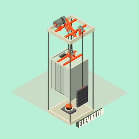 Big building elevator concept background. Isometric illustration of big building elevator vector concept background for web design Vettoriali