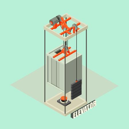 Big building elevator concept background. Isometric illustration of big building elevator vector concept background for web design Illustration