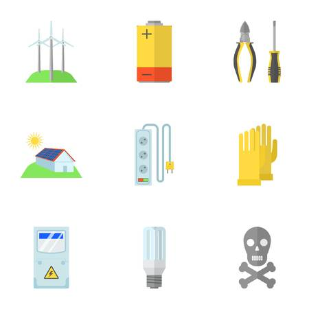 Electrical work icons set. Flat set of 9 electrical work vector icons for web isolated on white background