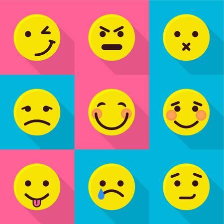 Mood change icons set. Flat set of 9 mood change vector icons for web isolated on white background