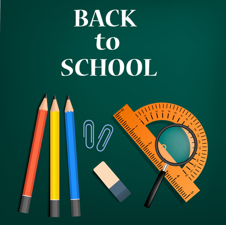 Back to school green concept background, realistic style